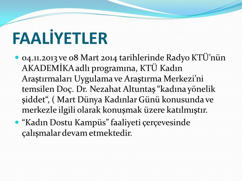 FAALİYETLER 04.11.2013 ve 08 Mart 2014 tarihlerinde Radyo KTÜ'nün AKADEMİKA adlı programına, KTÜ Kadın Araştırmaları Uygulama ve Araştırma Merkezi'ni temsilen Doç.