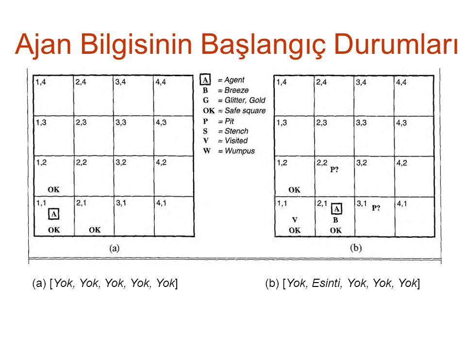 Ajan Bilgisinin Başlangıç Durumları (a) [Yok, Yok, Yok, Yok, Yok](b) [Yok, Esinti, Yok, Yok, Yok]