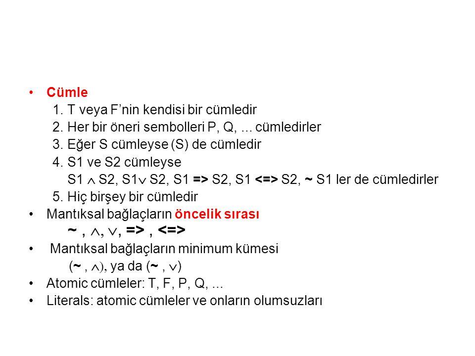 Cümle 1.T veya F'nin kendisi bir cümledir 2.Her bir öneri sembolleri P, Q,... cümledirler 3.Eğer S cümleyse (S) de cümledir 4.S1 ve S2 cümleyse S1 