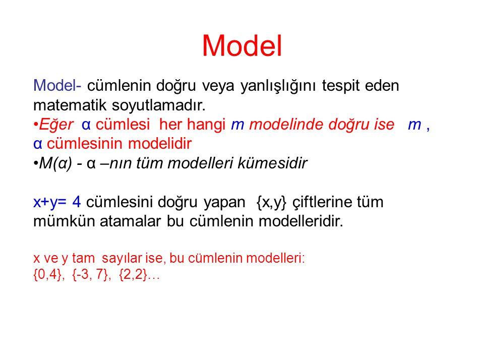 Model Model- cümlenin doğru veya yanlışlığını tespit eden matematik soyutlamadır. Eğer α cümlesi her hangi m modelinde doğru ise m, α cümlesinin model