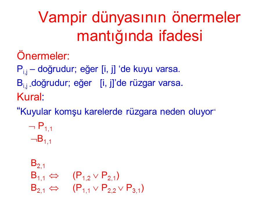 Vampir dünyasının önermeler mantığında ifadesi Önermeler: P i,j – doğrudur; eğer [i, j] 'de kuyu varsa. B i,j - doğrudur; eğer [i, j]'de rüzgar varsa.