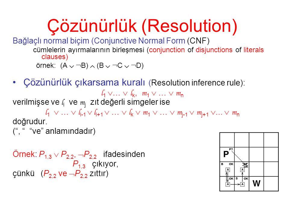 Çözünürlük (Resolution) Bağlaçlı normal biçim (Conjunctive Normal Form (CNF) cümlelerin ayırmalarının birleşmesi (conjunction of disjunctions of liter