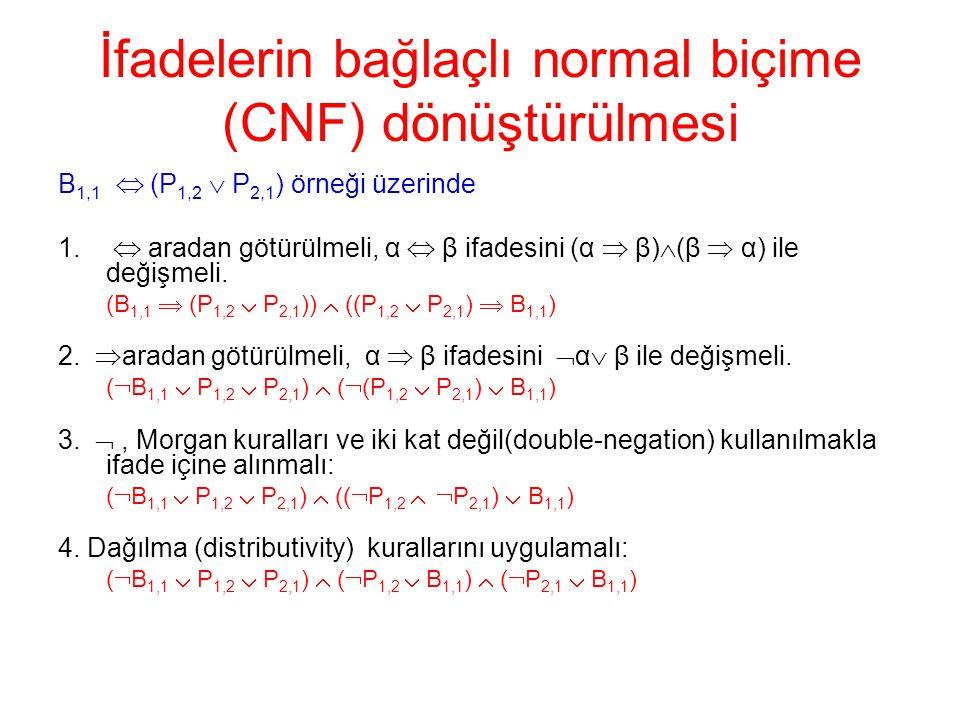 İfadelerin bağlaçlı normal biçime (CNF) dönüştürülmesi B 1,1  (P 1,2  P 2,1 ) örneği üzerinde 1.  aradan götürülmeli, α  β ifadesini (α  β)  (β