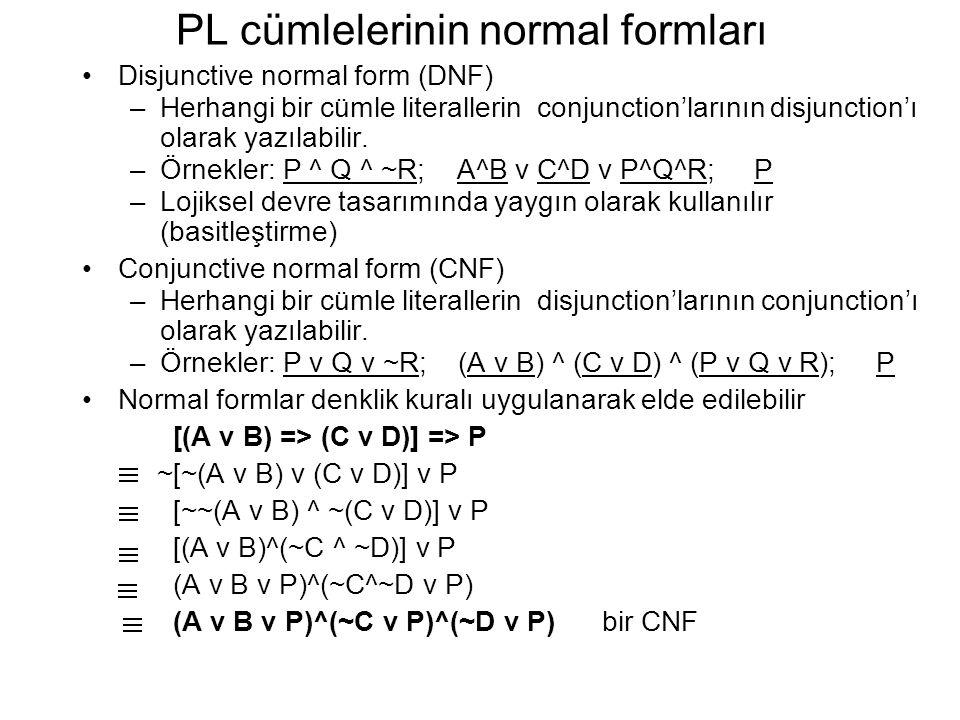 PL cümlelerinin normal formları Disjunctive normal form (DNF) –Herhangi bir cümle literallerin conjunction'larının disjunction'ı olarak yazılabilir. –