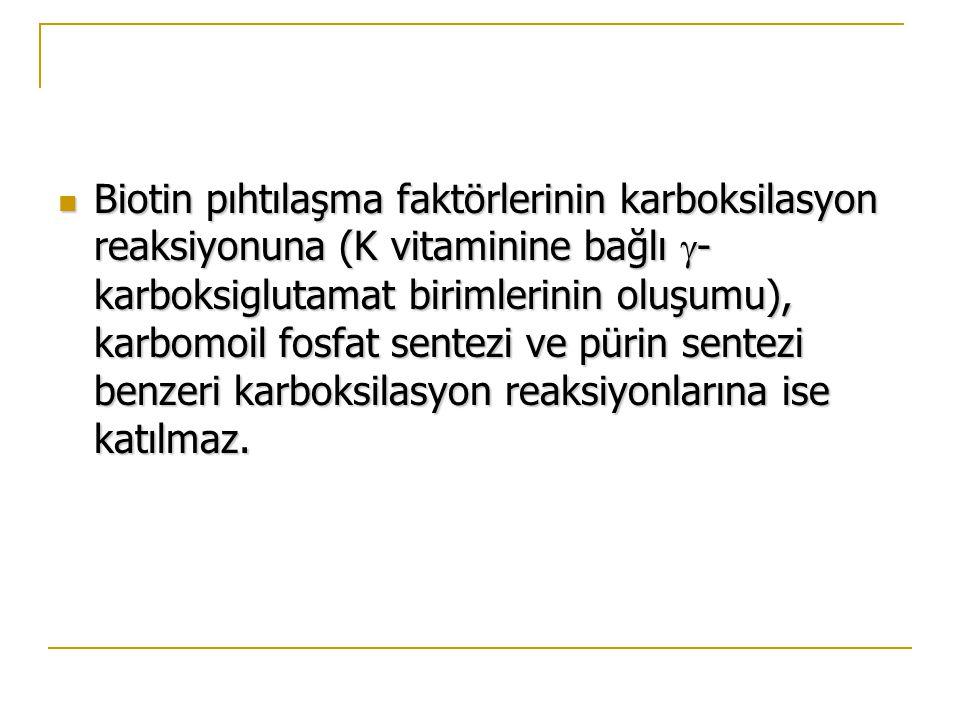Biotin pıhtılaşma faktörlerinin karboksilasyon reaksiyonuna (K vitaminine bağlı  - karboksiglutamat birimlerinin oluşumu), karbomoil fosfat sentezi ve pürin sentezi benzeri karboksilasyon reaksiyonlarına ise katılmaz.