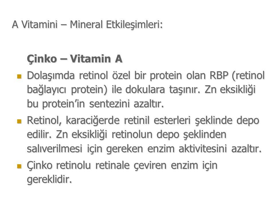 A Vitamini – Mineral Etkileşimleri: Çinko – Vitamin A Dolaşımda retinol özel bir protein olan RBP (retinol bağlayıcı protein) ile dokulara taşınır.