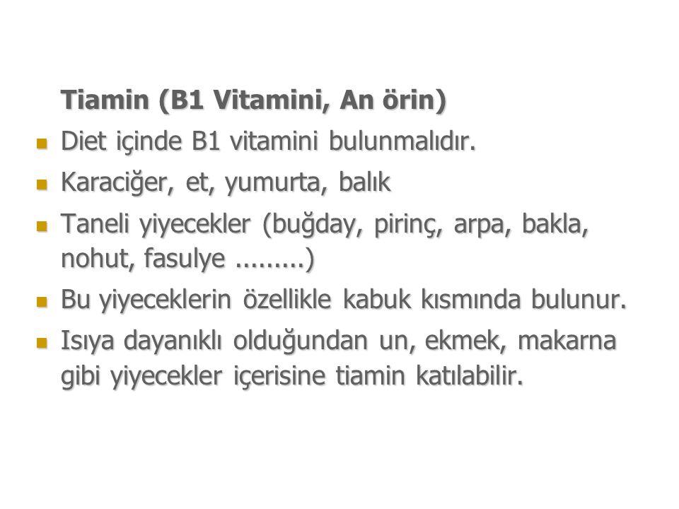 Tiamin (B1 Vitamini, An örin) Diet içinde B1 vitamini bulunmalıdır.