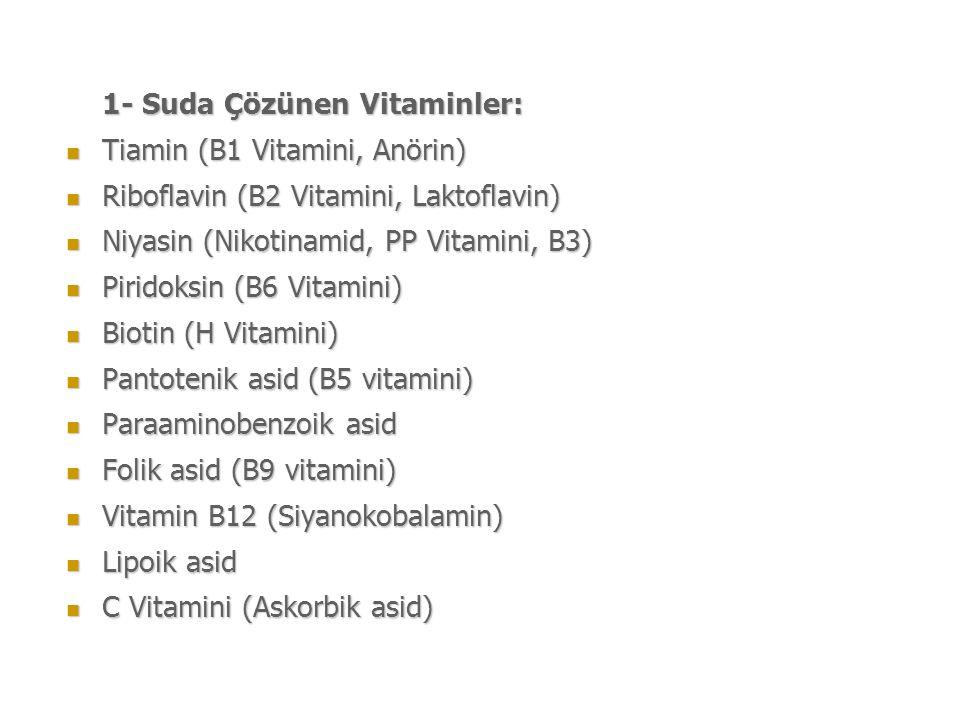 1- Suda Çözünen Vitaminler: Tiamin (B1 Vitamini, Anörin) Tiamin (B1 Vitamini, Anörin) Riboflavin (B2 Vitamini, Laktoflavin) Riboflavin (B2 Vitamini, Laktoflavin) Niyasin (Nikotinamid, PP Vitamini, B3) Niyasin (Nikotinamid, PP Vitamini, B3) Piridoksin (B6 Vitamini) Piridoksin (B6 Vitamini) Biotin (H Vitamini) Biotin (H Vitamini) Pantotenik asid (B5 vitamini) Pantotenik asid (B5 vitamini) Paraaminobenzoik asid Paraaminobenzoik asid Folik asid (B9 vitamini) Folik asid (B9 vitamini) Vitamin B12 (Siyanokobalamin) Vitamin B12 (Siyanokobalamin) Lipoik asid Lipoik asid C Vitamini (Askorbik asid) C Vitamini (Askorbik asid)