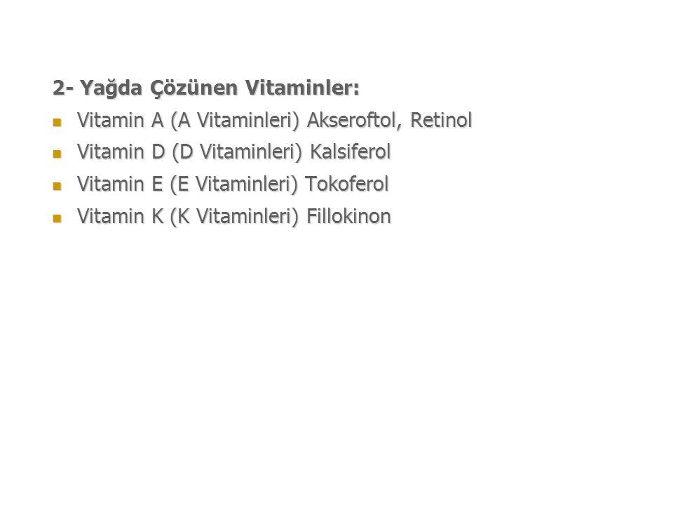 2- Yağda Çözünen Vitaminler: Vitamin A (A Vitaminleri) Akseroftol, Retinol Vitamin A (A Vitaminleri) Akseroftol, Retinol Vitamin D (D Vitaminleri) Kalsiferol Vitamin D (D Vitaminleri) Kalsiferol Vitamin E (E Vitaminleri) Tokoferol Vitamin E (E Vitaminleri) Tokoferol Vitamin K (K Vitaminleri) Fillokinon Vitamin K (K Vitaminleri) Fillokinon