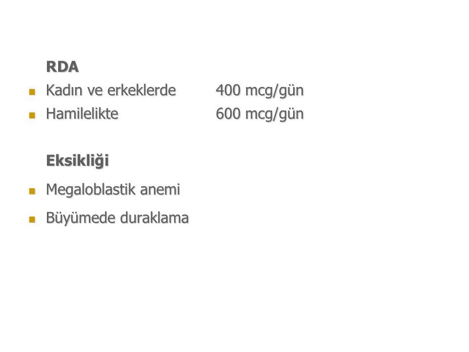 RDA Kadın ve erkeklerde 400 mcg/gün Kadın ve erkeklerde 400 mcg/gün Hamilelikte 600 mcg/gün Hamilelikte 600 mcg/günEksikliği Megaloblastik anemi Megaloblastik anemi Büyümede duraklama Büyümede duraklama