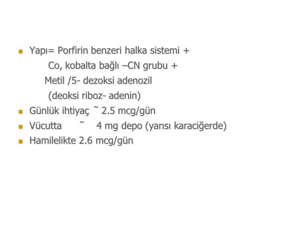 Yapı= Porfirin benzeri halka sistemi + Yapı= Porfirin benzeri halka sistemi + Co, kobalta bağlı –CN grubu + Co, kobalta bağlı –CN grubu + Metil /5- dezoksi adenozil Metil /5- dezoksi adenozil (deoksi riboz- adenin) Günlük ihtiyaç  2.5 mcg/gün Günlük ihtiyaç  2.5 mcg/gün Vücutta  4 mg depo (yarısı karaciğerde) Vücutta  4 mg depo (yarısı karaciğerde) Hamilelikte 2.6 mcg/gün Hamilelikte 2.6 mcg/gün