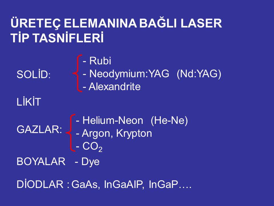 ÜRETEÇ ELEMANINA BAĞLI LASER TİP TASNİFLERİ SOLİD : - Rubi - Neodymium:YAG (Nd:YAG) - Alexandrite LİKİT GAZLAR: - Helium-Neon (He-Ne) - Argon, Krypton