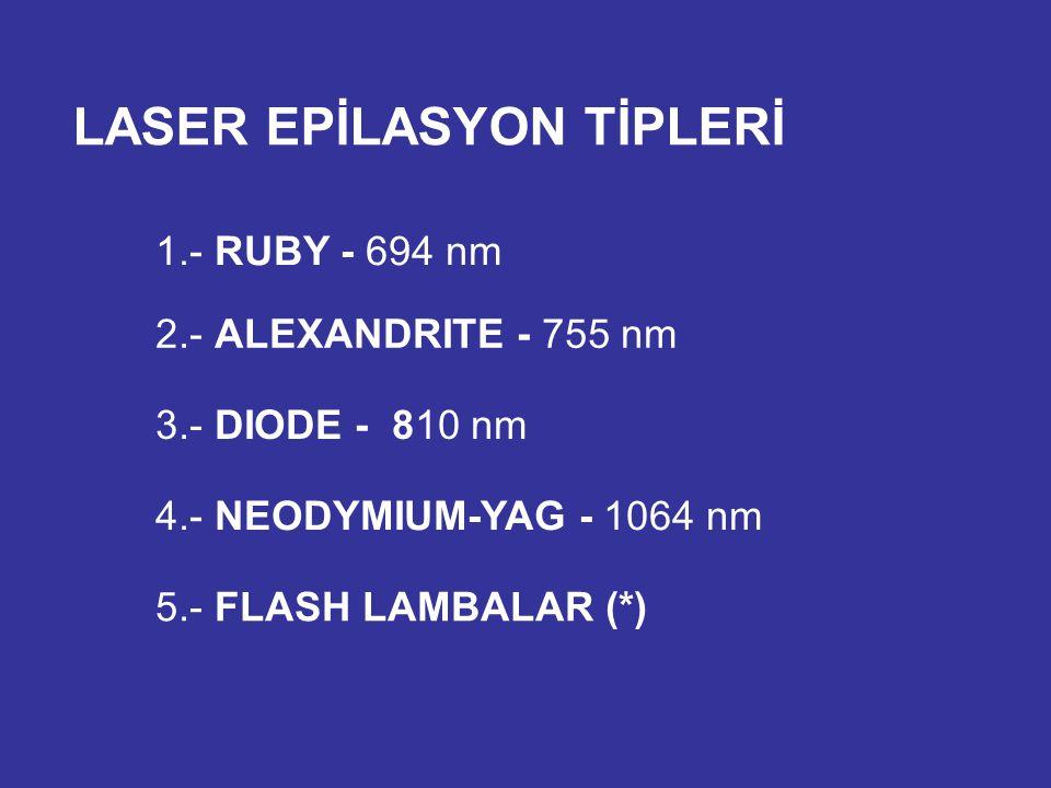 LASER EPİLASYON TİPLERİ 1.- RUBY - 694 nm 2.- ALEXANDRITE - 755 nm 4.- NEODYMIUM-YAG - 1064 nm 3.- DIODE - 810 nm 5.- FLASH LAMBALAR (*)