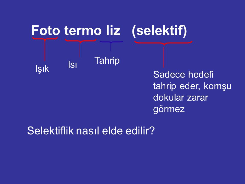 Foto termo liz (selektif) Işık Isı Tahrip Sadece hedefi tahrip eder, komşu dokular zarar görmez Selektiflik nasıl elde edilir?