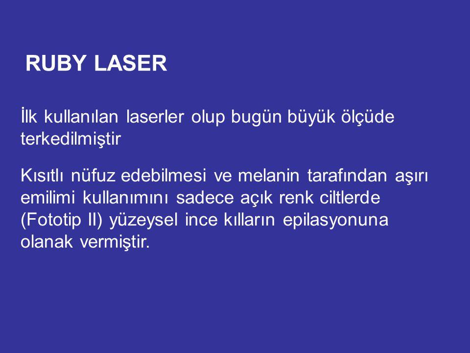 RUBY LASER İlk kullanılan laserler olup bugün büyük ölçüde terkedilmiştir Kısıtlı nüfuz edebilmesi ve melanin tarafından aşırı emilimi kullanımını sad