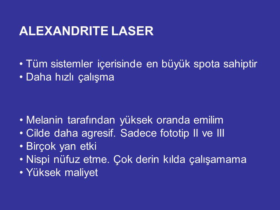 ALEXANDRITE LASER Tüm sistemler içerisinde en büyük spota sahiptir Daha hızlı çalışma Melanin tarafından yüksek oranda emilim Cilde daha agresif. Sade
