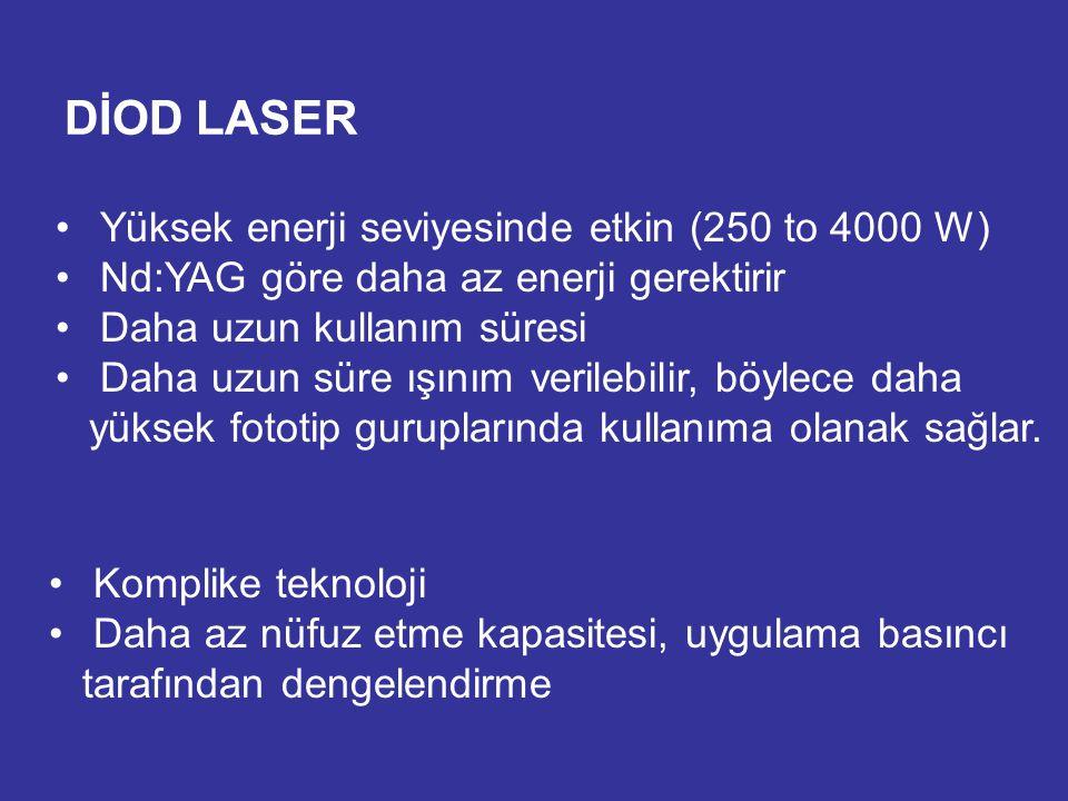 DİOD LASER Yüksek enerji seviyesinde etkin (250 to 4000 W) Nd:YAG göre daha az enerji gerektirir Daha uzun kullanım süresi Daha uzun süre ışınım veril