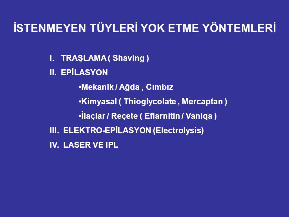 İSTENMEYEN TÜYLERİ YOK ETME YÖNTEMLERİ I. TRAŞLAMA ( Shaving ) II. EPİLASYON Mekanik / Ağda, Cımbız Kimyasal ( Thioglycolate, Mercaptan ) İlaçlar / Re