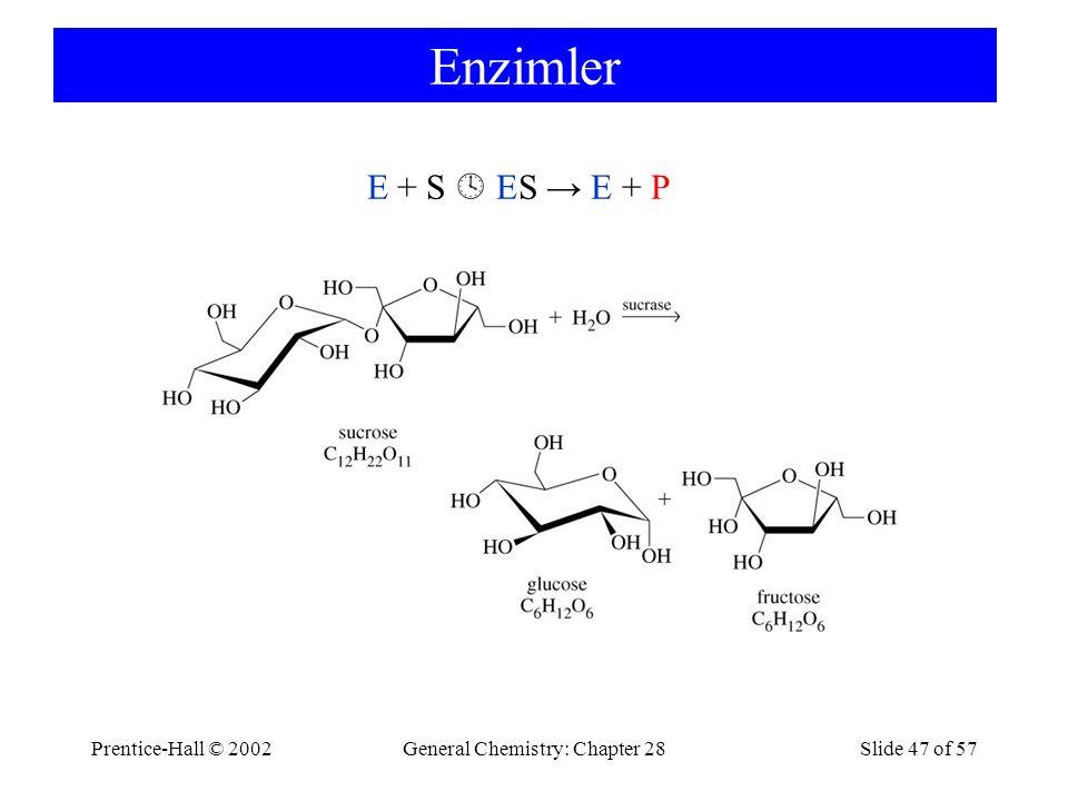 Prentice-Hall © 2002General Chemistry: Chapter 28Slide 47 of 57 Enzimler E + S  ES → E + P
