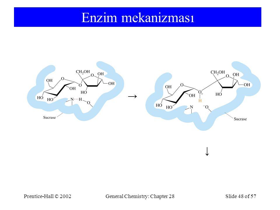 Prentice-Hall © 2002General Chemistry: Chapter 28Slide 48 of 57 Enzim mekanizması → →