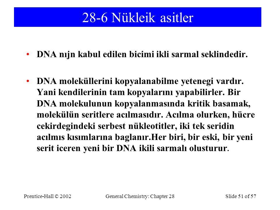 Prentice-Hall © 2002General Chemistry: Chapter 28Slide 51 of 57 28-6 Nükleik asitler DNA nıjn kabul edilen bicimi ikli sarmal seklindedir.