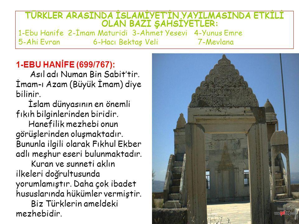 2-İMAM MATURİDİ(852/944): Semerkant'da doğup aynı yerde ölmüştür.