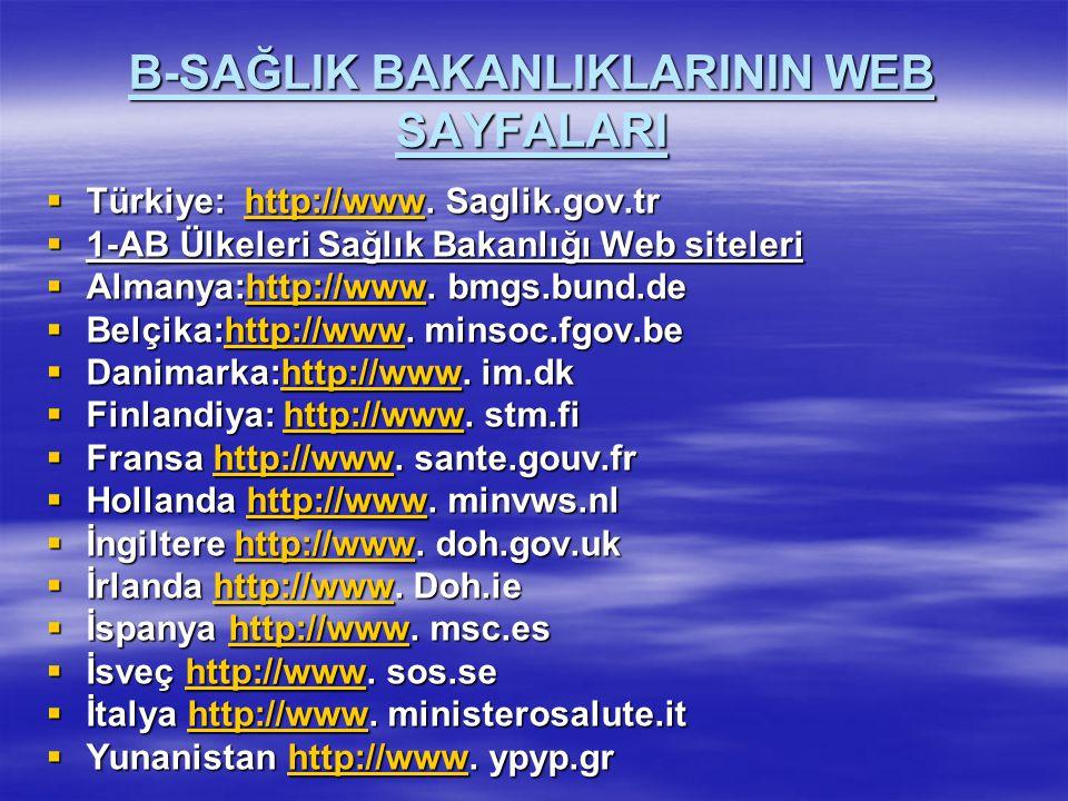 B-SAĞLIK BAKANLIKLARININ WEB SAYFALARI  Türkiye: http://www. Saglik.gov.tr http://www  1-AB Ülkeleri Sağlık Bakanlığı Web siteleri  Almanya:http://