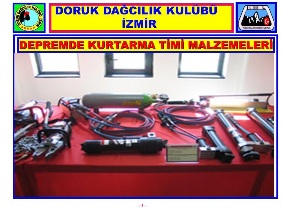 DEPREMDE KURTARMA TİMİ MALZEMELERİ - 1 - DORUK DAĞCILIK KULÜBÜ İZMİR