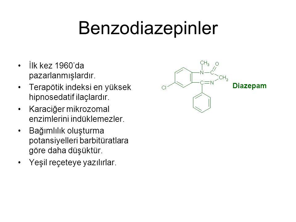 Benzodiazepinler İlk kez 1960'da pazarlanmışlardır. Terapötik indeksi en yüksek hipnosedatif ilaçlardır. Karaciğer mikrozomal enzimlerini indüklemezle