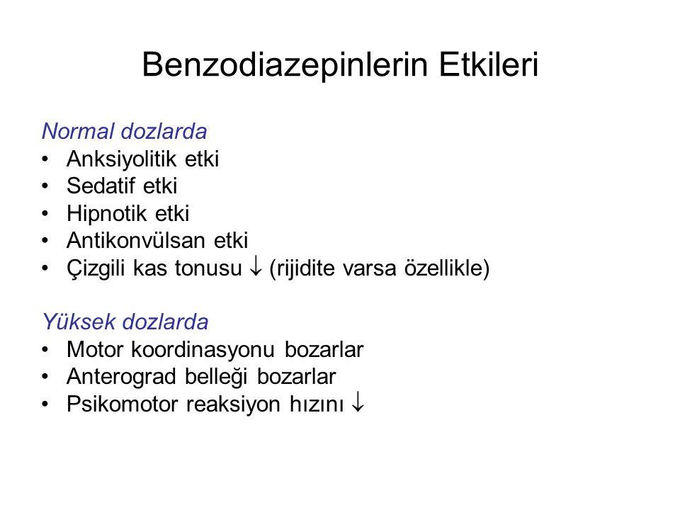 Benzodiazepinlerin Etkileri Normal dozlarda Anksiyolitik etki Sedatif etki Hipnotik etki Antikonvülsan etki Çizgili kas tonusu  (rijidite varsa özell