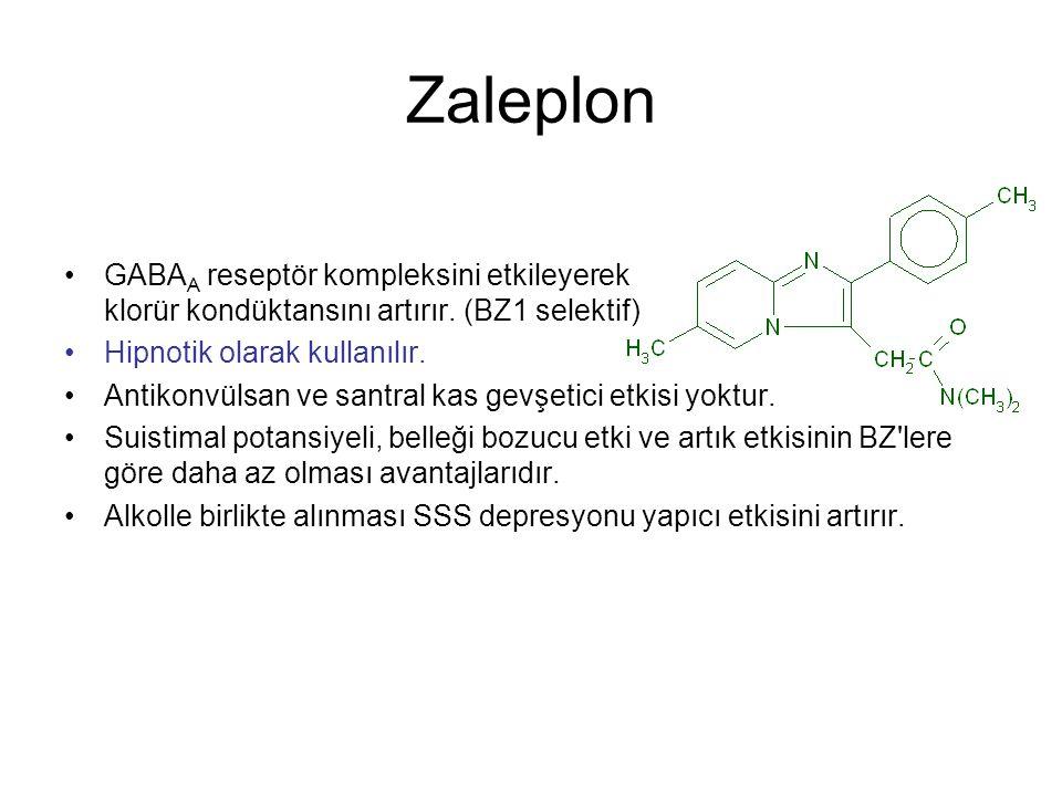 Zaleplon GABA A reseptör kompleksini etkileyerek klorür kondüktansını artırır. (BZ1 selektif) Hipnotik olarak kullanılır. Antikonvülsan ve santral kas