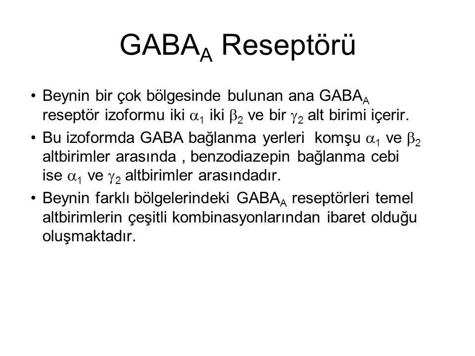 GABA A Reseptörü Benzodiazepinler, yalnızca N-ucunda histidin kalıntısı içeren  altbirimleri (1, 2, 3 ve 5) olan GABA A reseptörleri ile etkileşmektedirler.