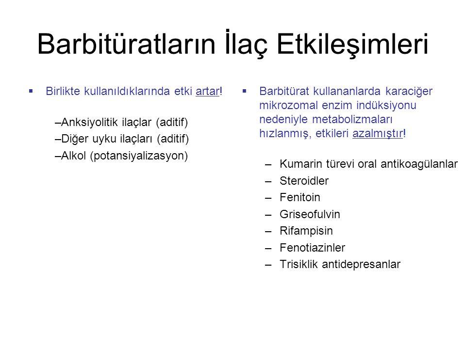 Barbitüratların İlaç Etkileşimleri  Birlikte kullanıldıklarında etki artar.