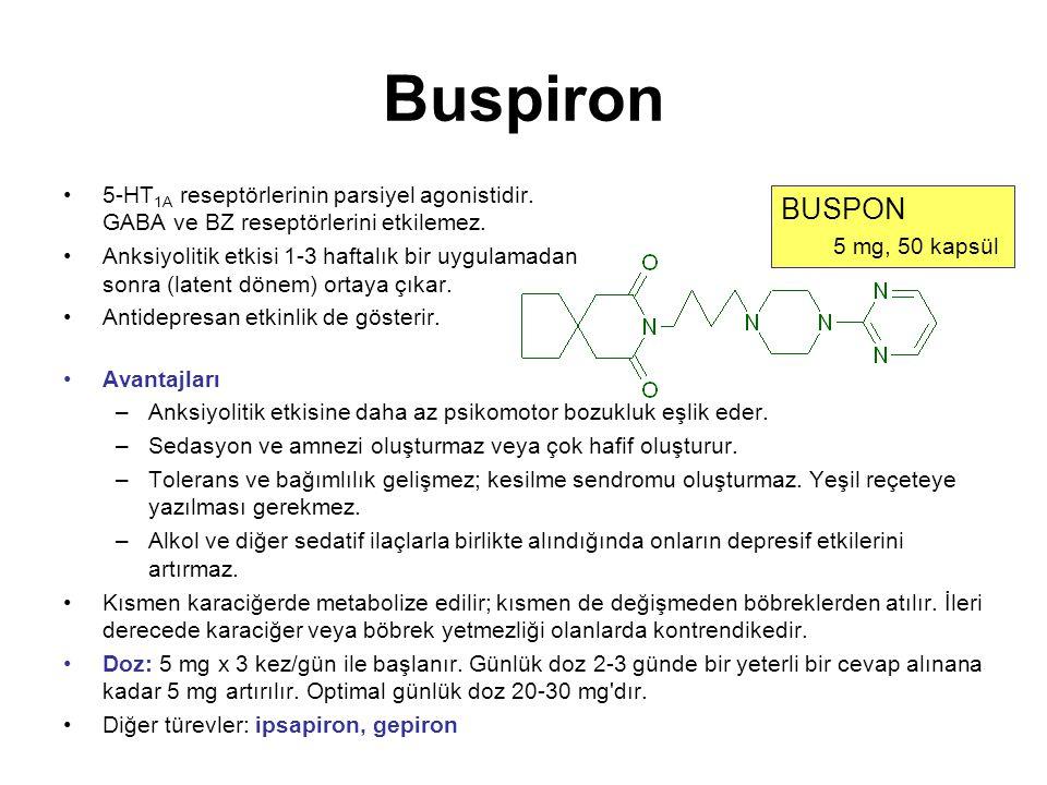 Buspiron 5-HT 1A reseptörlerinin parsiyel agonistidir. GABA ve BZ reseptörlerini etkilemez. Anksiyolitik etkisi 1-3 haftalık bir uygulamadan sonra (la