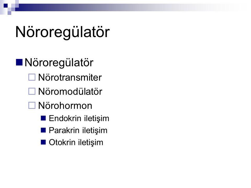 Nöroregülatör  Nörotransmiter  Nöromodülatör  Nörohormon Endokrin iletişim Parakrin iletişim Otokrin iletişim