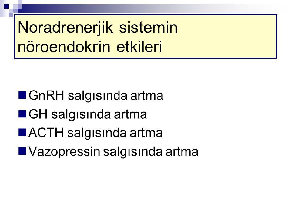 Noradrenerjik sistemin nöroendokrin etkileri GnRH salgısında artma GH salgısında artma ACTH salgısında artma Vazopressin salgısında artma