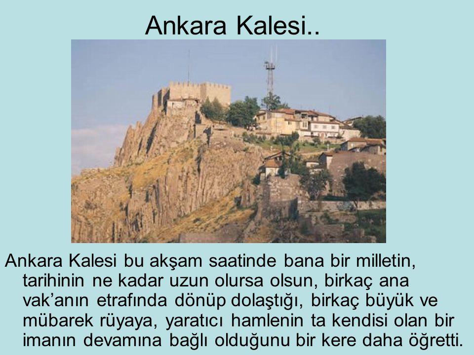 Ankara Kalesi.. Ankara Kalesi bu akşam saatinde bana bir milletin, tarihinin ne kadar uzun olursa olsun, birkaç ana vak'anın etrafında dönüp dolaştığı