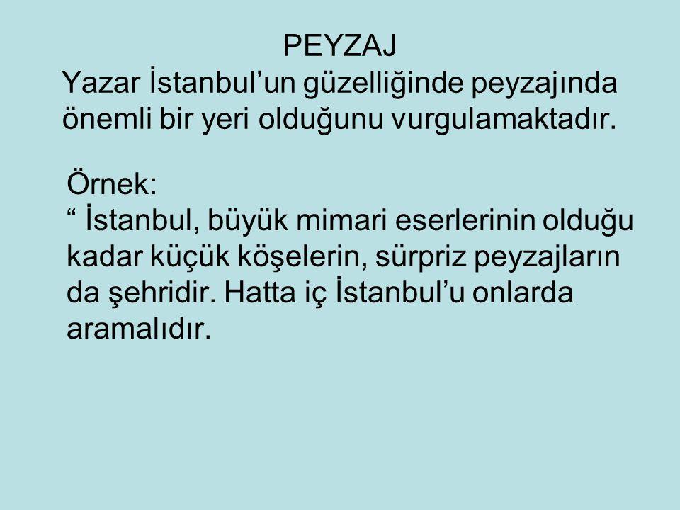 """PEYZAJ Yazar İstanbul'un güzelliğinde peyzajında önemli bir yeri olduğunu vurgulamaktadır. Örnek: """" İstanbul, büyük mimari eserlerinin olduğu kadar kü"""