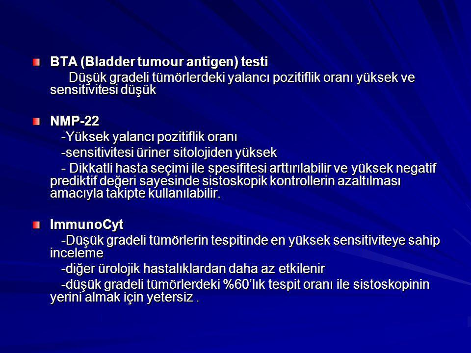 BTA (Bladder tumour antigen) testi Düşük gradeli tümörlerdeki yalancı pozitiflik oranı yüksek ve sensitivitesi düşük Düşük gradeli tümörlerdeki yalanc