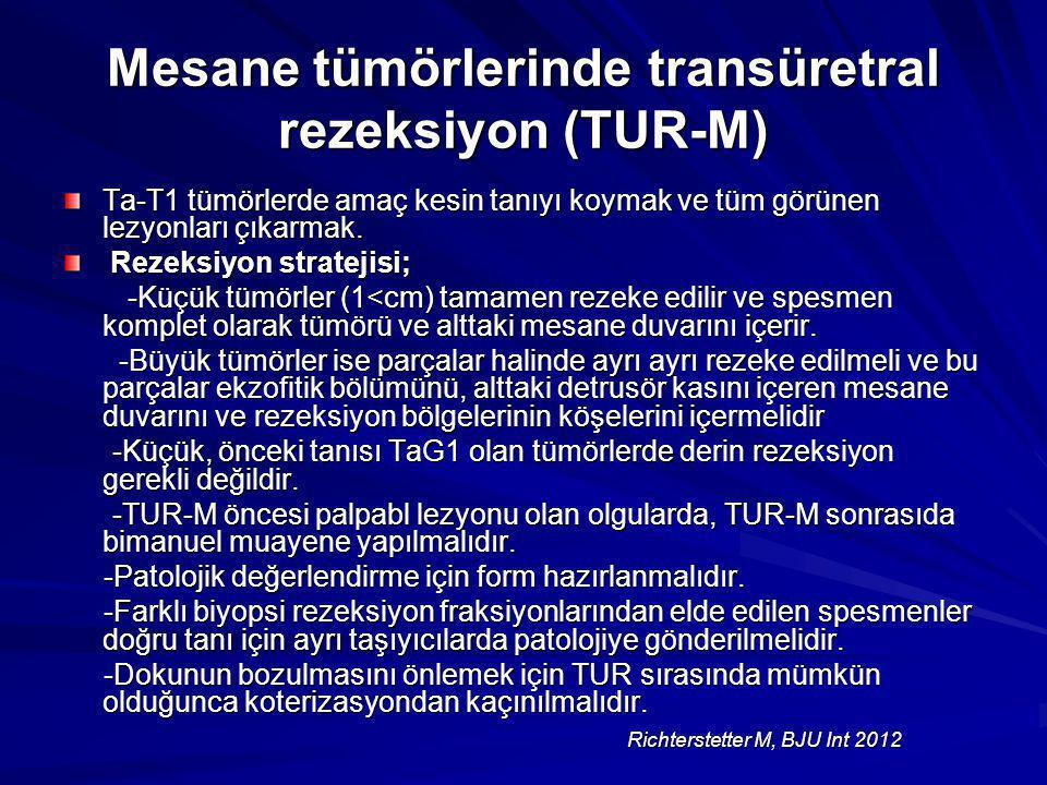 Mesane tümörlerinde transüretral rezeksiyon (TUR-M) Ta-T1 tümörlerde amaç kesin tanıyı koymak ve tüm görünen lezyonları çıkarmak. Rezeksiyon stratejis