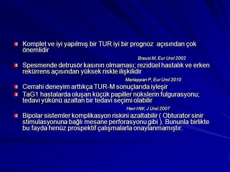 Komplet ve iyi yapılmış bir TUR iyi bir prognoz açısından çok önemlidir Brausi M, Eur Urol 2002 Brausi M, Eur Urol 2002 Spesmende detrusör kasının olm