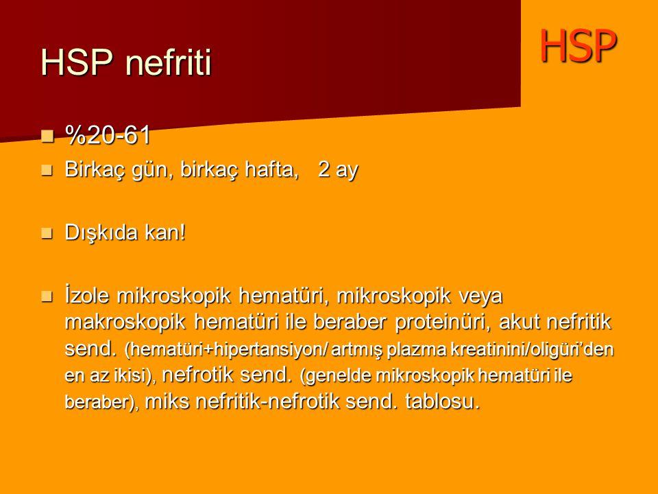 HSP nefriti %20-61 %20-61 Birkaç gün, birkaç hafta, 2 ay Birkaç gün, birkaç hafta, 2 ay Dışkıda kan! Dışkıda kan! İzole mikroskopik hematüri, mikrosko