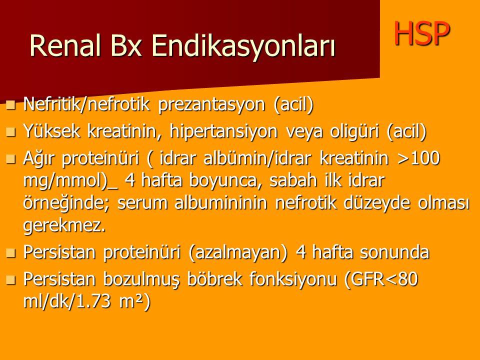 Renal Bx Endikasyonları Nefritik/nefrotik prezantasyon (acil) Nefritik/nefrotik prezantasyon (acil) Yüksek kreatinin, hipertansiyon veya oligüri (acil
