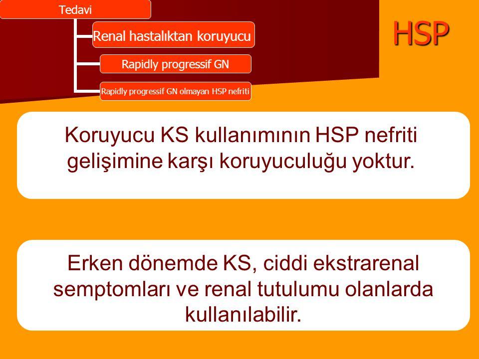 Tedavi Renal hastalıktan koruyucu Rapidly progressif GN Rapidly progressif GN olmayan HSP nefritiHSP Renal hastalıktan koruyucu Koruyucu KS kullanımın