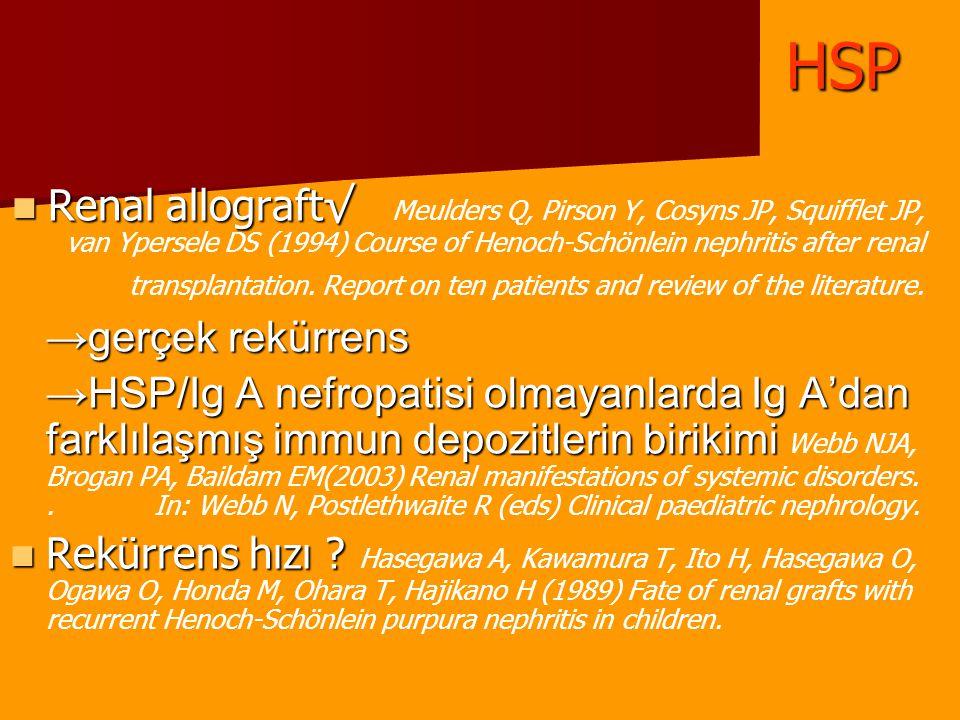 Renal allograft√ Renal allograft√ Meulders Q, Pirson Y, Cosyns JP, Squifflet JP, van Ypersele DS (1994) Course of Henoch-Schönlein nephritis after ren