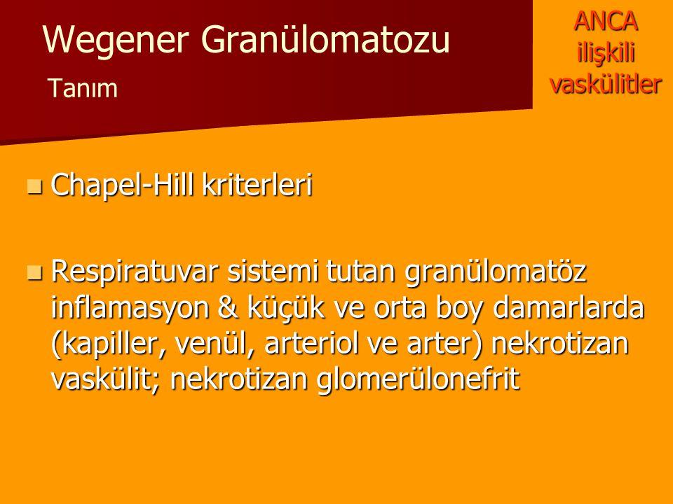 Wegener Granülomatozu Tanım Chapel-Hill kriterleri Chapel-Hill kriterleri Respiratuvar sistemi tutan granülomatöz inflamasyon & küçük ve orta boy dama