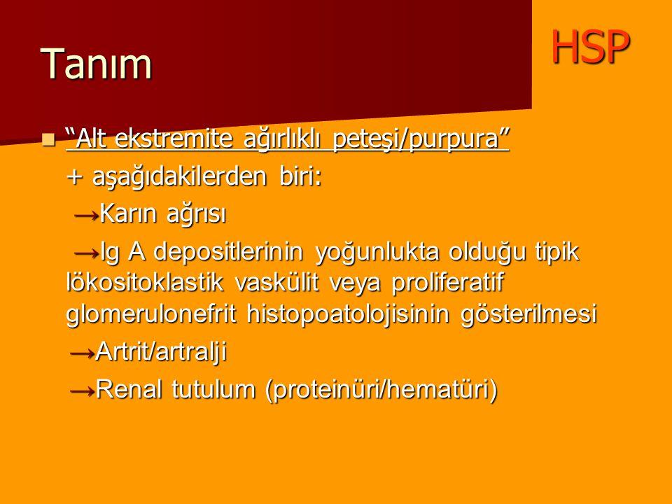 """Tanım """"Alt ekstremite ağırlıklı peteşi/purpura"""" """"Alt ekstremite ağırlıklı peteşi/purpura"""" + aşağıdakilerden biri: + aşağıdakilerden biri: → Karın ağrı"""
