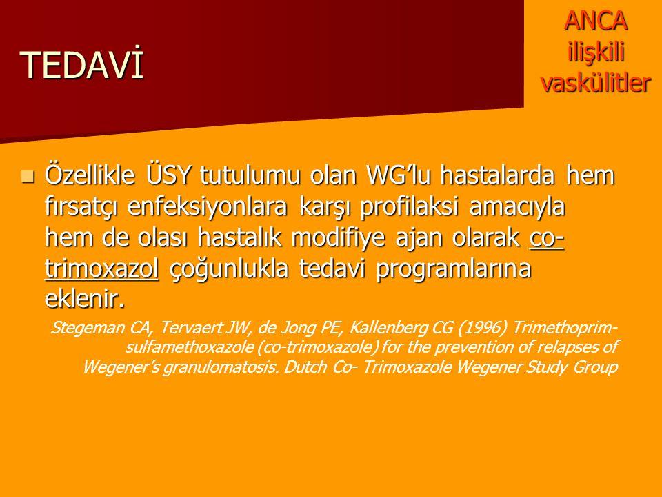 TEDAVİ Özellikle ÜSY tutulumu olan WG'lu hastalarda hem fırsatçı enfeksiyonlara karşı profilaksi amacıyla hem de olası hastalık modifiye ajan olarak c
