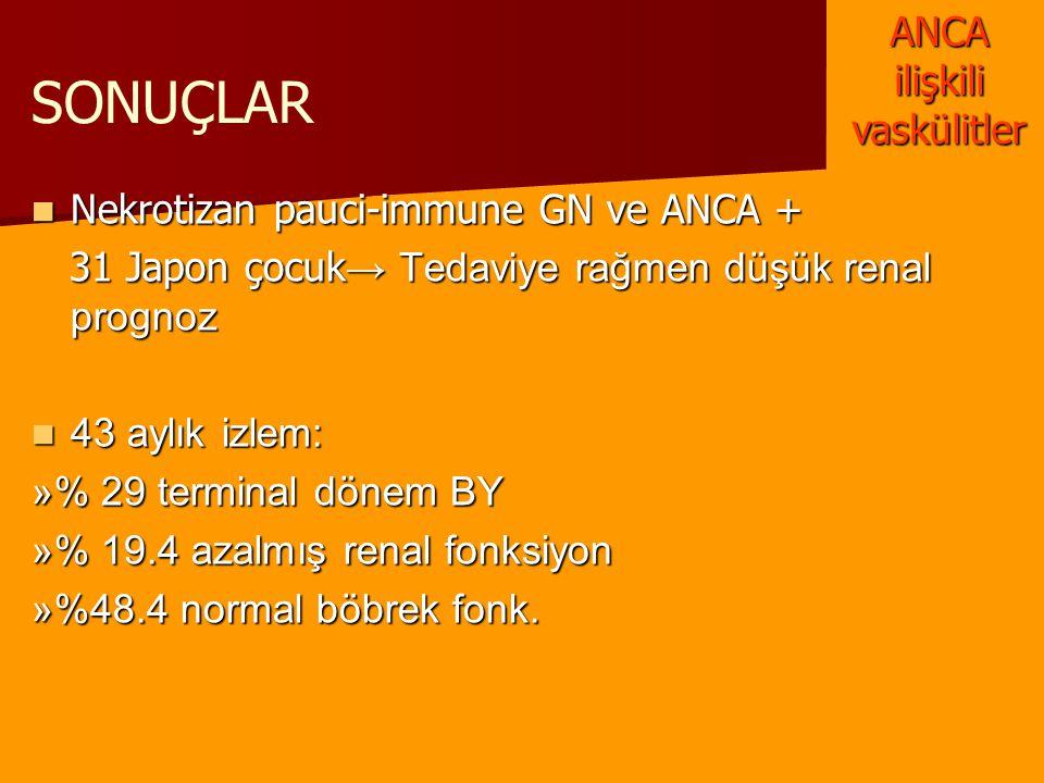 SONUÇLAR Nekrotizan pauci-immune GN ve ANCA + Nekrotizan pauci-immune GN ve ANCA + 31 Japon çocuk → Tedaviye rağmen düşük renal prognoz 31 Japon çocuk