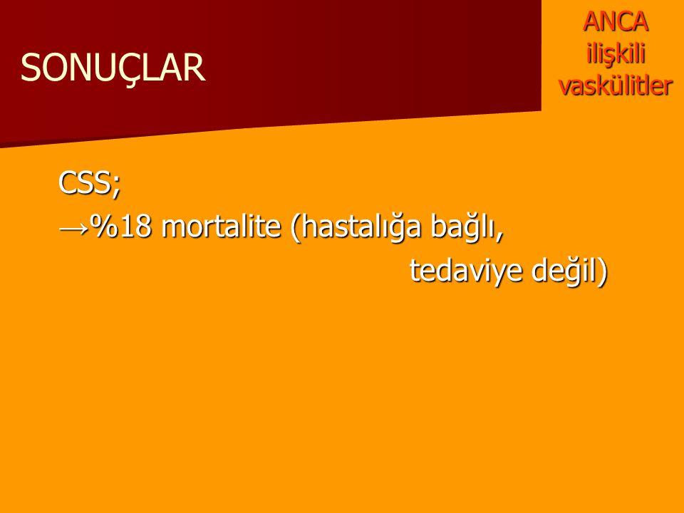 SONUÇLARCSS; → %18 mortalite (hastalığa bağlı, tedaviye değil) tedaviye değil) ANCA ilişkili vaskülitler